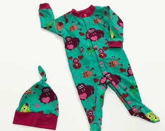 Infant Footed Sleeper and Cap Set - 3 months - Lovable Monsters - Footed Jammies