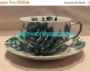 Crazed China Sale English Chippendale Green Cup & Saucer, Johnson Bros England, English Tea Cup, Tea Cup Collection, Crazed China On Sale
