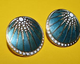 Vintage Turquoise Enamel Cloisonne Modern  Earrings  1980s