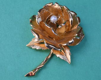 Vintage Marcel Boucher Rose Pin Brooch Genuine Pearl 1960s