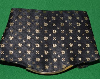 Vintage Clutch Handbag Purse Evening Bag Black Brocade Gold 1950s