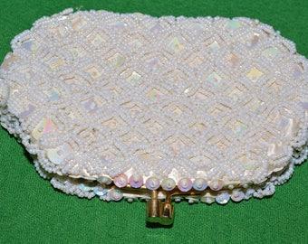 Vintage Beaded Wallet beaded wedding bridal  Small purse 1960s