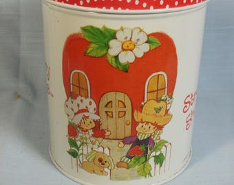 Vintage Strawberry Shortcake -Small Metal Canister--American Greetings-1979--
