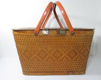 Vintage Picnic Basket, Red Man Basket, Woven Basket
