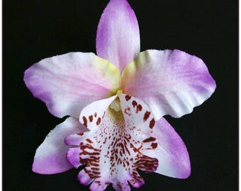 Flower shuttle Orchid purple violet and white for x 1 hair clip