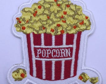 Popcorn badge embroidered patch sew x 1
