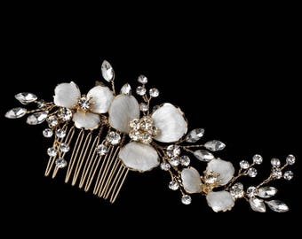 Floral And Crystal Bridal Hair Comb Wedding Hairpiece, Gold Flower Hair Comb, Silver, Bridal Headpiece, Bridal Hairpiece