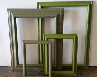 Empty Picture Frame Set Of 4 Green Rustic Wall Decor
