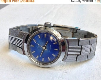 "ON SALE Womens watch, Soviet watch, Russian watch ,Vintage Watch,  Mechanical watch ,ladies watch ""Luch""  blue watch"