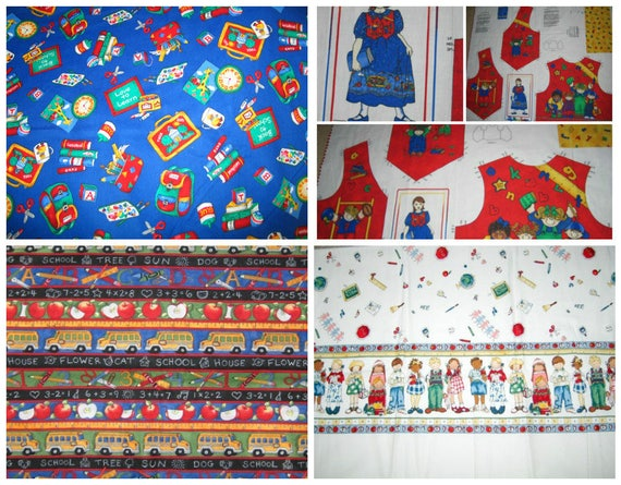 School day fabric children school days vest panel for Children s fabric panels