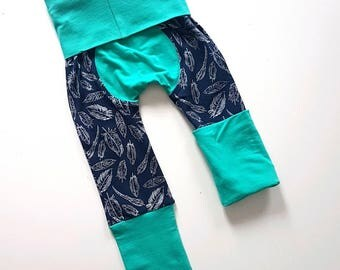 Feather bootie pants//Grow with me pants //Maxaloones