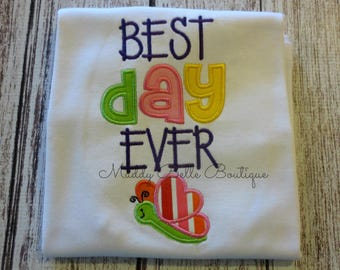 Best Day Ever Butterfly Shirt - Girls, Embroidered, Personalized, Monogram, Best Day Girls Shirt, Girls Shirt, Toddler Shirt,Butterfly Shirt