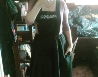 Moonphase black pinafore dress adjustable straps mooncycle full moon witchcraft pagan bruja