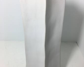 Vintage Off White Flat Tall Hexagonal Urn Vase