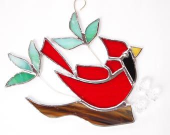Stained Glass Cardinal Happy Bird Suncatcher