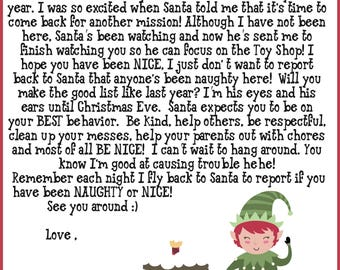 Elf Shelf Printable Notes ( Includes Welcome , & Goodbye Letters and FIRST time Elf Visit) 40 Notes, A full list of IDEAS and Elf Twister