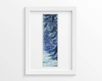 Blue Winter Bookmark Cross Stitch Pattern PDF, Winter Cross Stitch Chart, Art Cross Stitch, Winter Cross Stitch, Embroidery Chart (BK37)