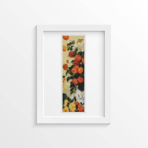 Dahlias Bookmark Cross Stitch Kit Embroidery Kit Art