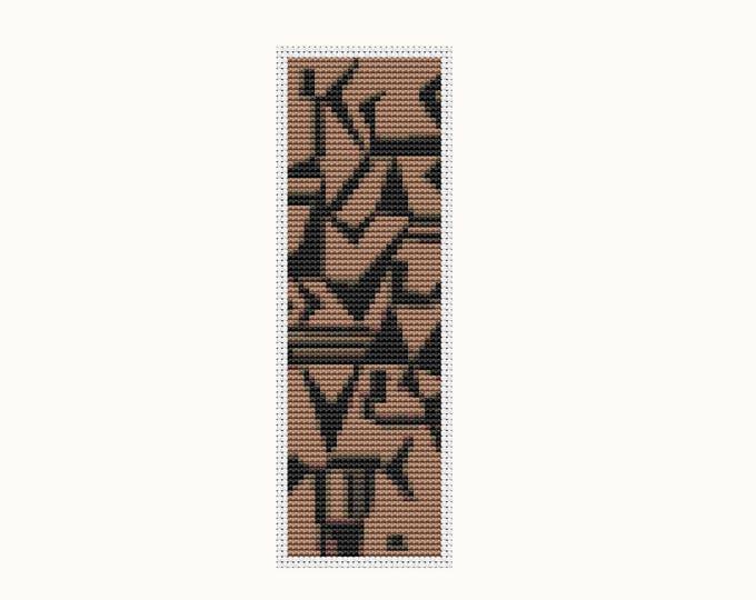 Bookmark Cross Stitch Pattern PDF, Embroidery Chart, Art Cross Stitch, Lightly Touching by Wassily Kandinsky, Abstract Cross Stitch (BK36)