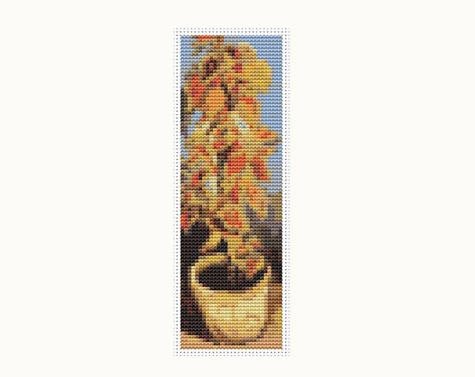Bookmark Cross Stitch Pattern PDF, Embroidery Chart, Art Cross Stitch, Coleus Plant in a Flowerpot by Vincent van Gogh (BK24)