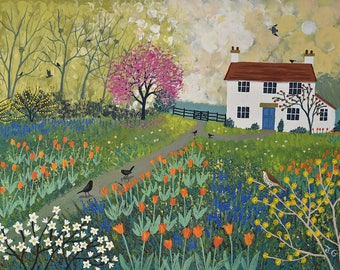 Print of an English garden with cottage and tulips from an original acrylic painting Spring at 'Tulip Cottage' by Jo Grundy