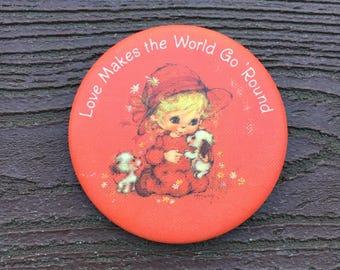 Vintage Hallmark Pin Brooch Valentine's Day Love Makes the World Go Round