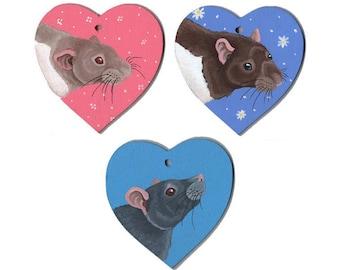 Wooden Hanging Rat Hearts - Hooded Beige, Hooded Agouti, Grey Red Eyed Marten Varieties