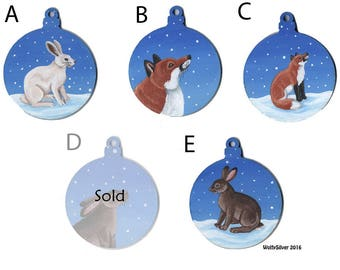Fox and Hare Christmas Snowy Wooden Baubles - Hand Painted - Great for Xmas Decorations, Tree Decs, Presents