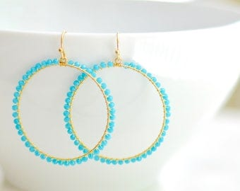 Turquoise Mint  Aqua Blue Beaded Drop Hoop Earrings.  Fashion Earrings for Her. Teal Turquoise Hoop Earrings. Free Shipping. Bridesmaids