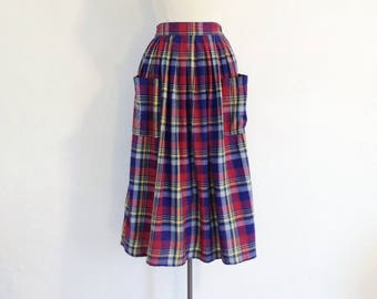 vintage plaid skirt womens cotton summer skirt long full skirt with pockets madras summer clothes