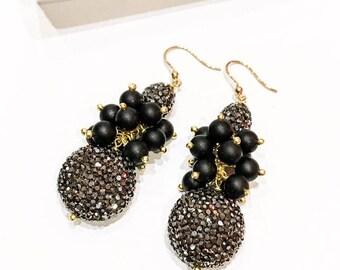 Grey Crystal Bead and Black Stone Earrings