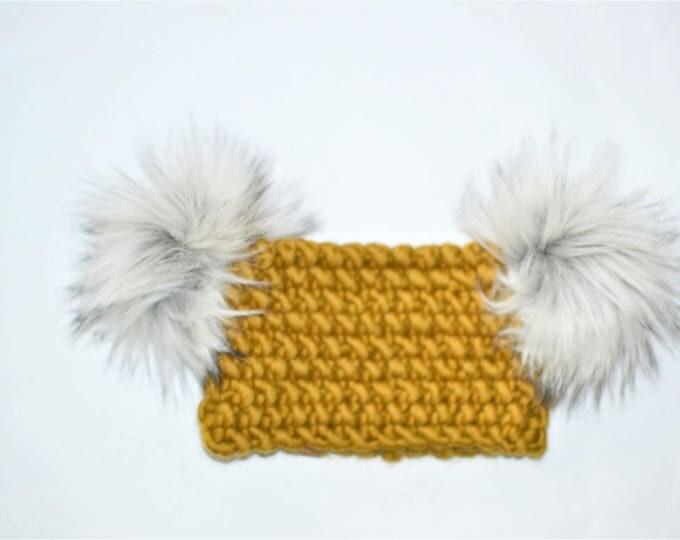 Moss Koala Headband | Knitted Baby Headband | Olive Baby Headband | Double Pom Pom Headband