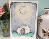 Moon Rats Original Art A5 Painting, A5 A6 Art Prints, Two Sleeping Rats, Cute Animal Illustration, Pet Rats, Wall Art Decoration