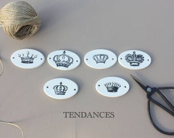 5 x 3 cm print 6 labels in oval ceramic crowns