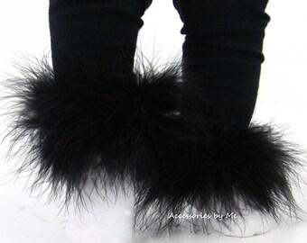 Marabou Socks, Black Feather Trim Sock, Fur Socks, Baby Girl Socks, Infant Socks, Marabou Pageant Socks, Frilly Baby Sock, Newborn Red Socks