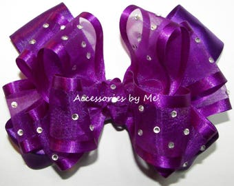 Purple Hair Bow, High Glitz Purple Clip, Purple Organza Satin Hair Bow, Flower Girl Bows, Glitz Pageant Bow Barrettes, Purple Baby Bow Bands
