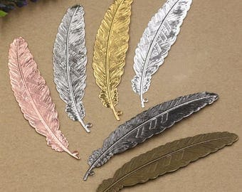 10 charms ridged feather silver plated brass