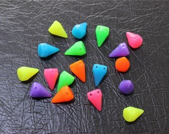 50 rivet acrylic beads multicolor neon color
