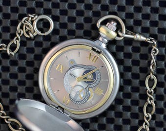 Free Shipping! Great Gift • Relic Pocket Watch • Classic Vertical Silver & Gold Stripes • Working and Ready for Use