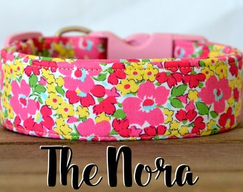 """Pink and Yellow Modern Vintage Inspired Floral Dog Collar """"The Nora"""""""