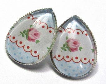 Cabochons - paper with roses and blue weight drops earrings