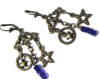 Bronze and blue stars earrings