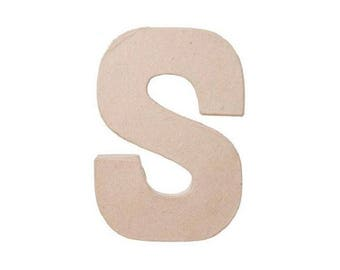 8 INCH Paper Mache Letter S - Cardboard Letters - Paper Craft Party Decor Supplies