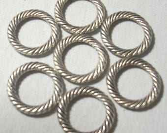 5 ridged silver metal 13mm rondelle beads