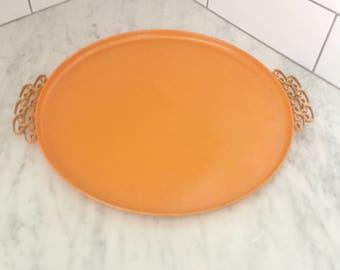 1960s Cocktail Tray, Orange Metal Tray, Bar Tray, Moire Glaze,  Kyes of California, Greek Key Decor, Moire Satin Enamel