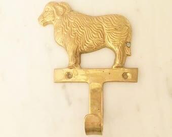 Brass Sheep Hook, Brass Wall Hook, Farm Decor, Wall Decor,  Vintage Brass Decor