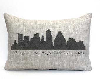 "Austin skyline pillow, throw pillow, word pillow, phrase pillow, mother's day gift - ""Austin skyline"""