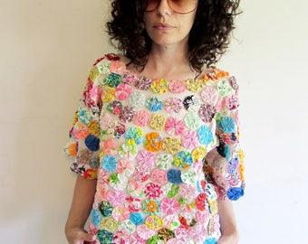 Beautiful Unique 50s 60s Colorful Rainbow YoYo Quilt Blouse Shirt