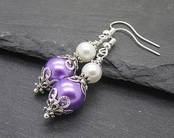 Lilac and Ivory Pearl Drop Earrings, Purple Bridesmaid Jewellery, Pearl Bridesmaid Earrings, Lavender Wedding Sets, Bridal Party Gifts
