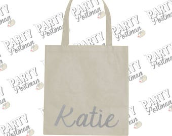 Personalized Name Tote Bag in Silver Glitter